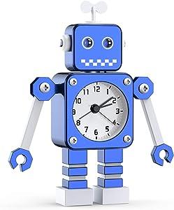 Robot Alarm, Analog Alarm Clock with Cool Design Analog Quartz Clocks for Bedrooms (Blue-1)
