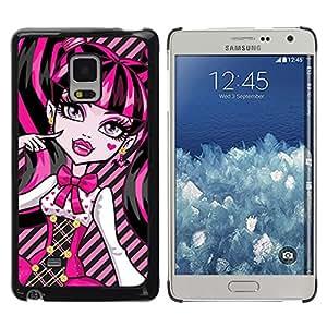 QCASE / Samsung Galaxy Mega 5.8 9150 9152 / rosa neón cara muñeca colegiala ojos grandes / Delgado Negro Plástico caso cubierta Shell Armor Funda Case Cover