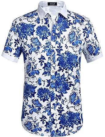 SSLR Men's Flower Casual Button Down Short Sleeve Shirt (Small, Blue (068))
