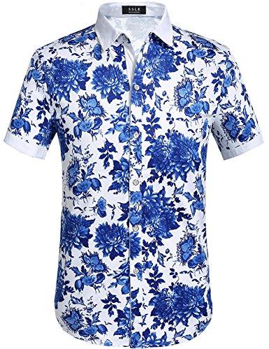 SSLR Men's Cotton Button Down Short Sleeve Hawaiian Shirt (Large, Blue (068))