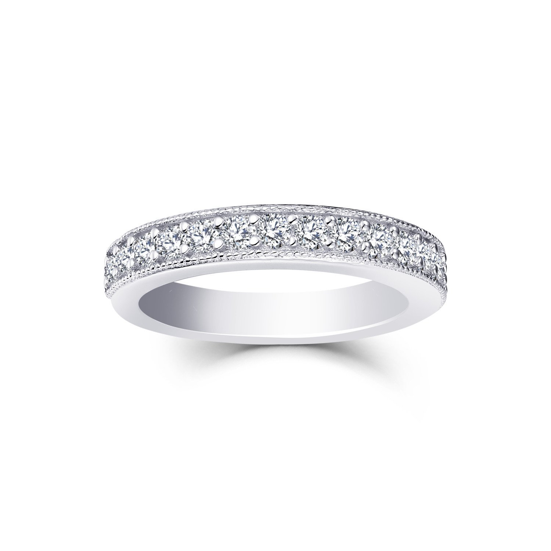 0.53 Carat Prong Set Diamond Wedding Band Ring in 10K White Gold Size7 by JO WISDOM (Image #1)