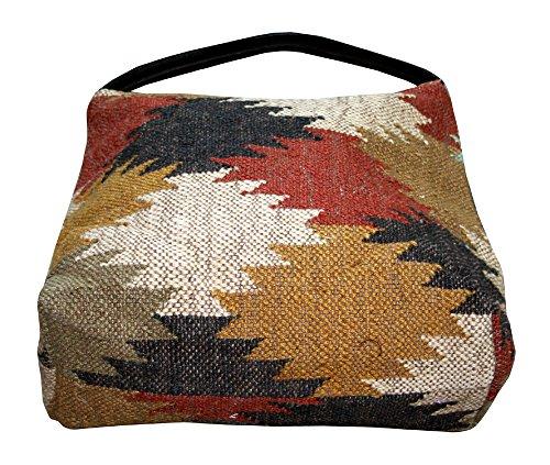 donne in juta, misura floreale lavorazione a mano, tasca interna con zip, borsa a tracolla Art