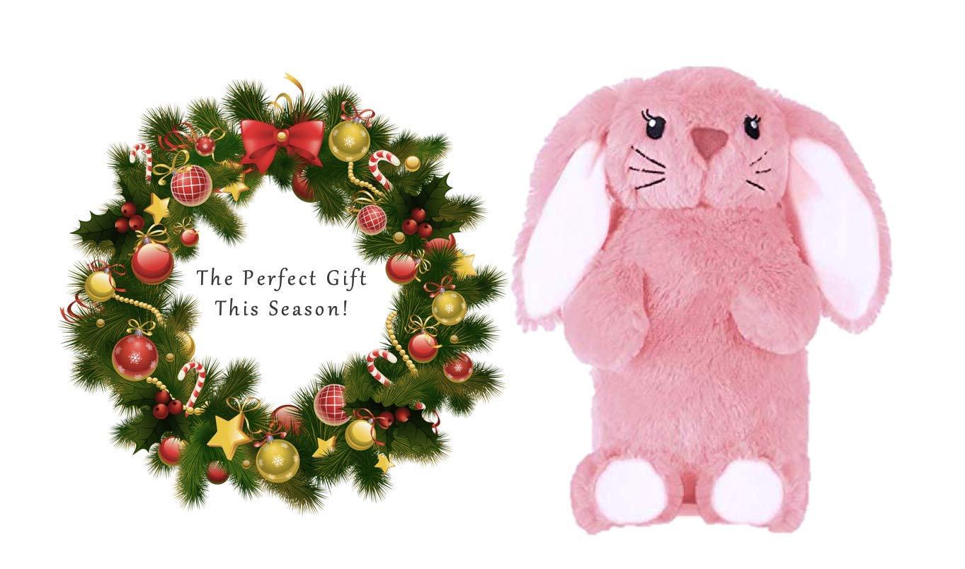 amusante et en peluche dans une fausse fourrure luxueuse 1 litre Bouteille deau chaude mignonne rose lapin