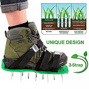 Leagway Upgraded Lawn Aerator Shoes, Aerating Lawn Soil Sandals with Aluminium Alloy Buckles, 3 Adjustable Straps, Heavy Duty Spiked Sandals for Aerating Your Lawn or Yard, One Size Fits All (Black)