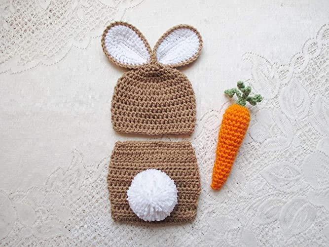 06fdb9713 Amazon.com: Baby Easter Bunny Crochet Hat and Diaper Cover Set ...