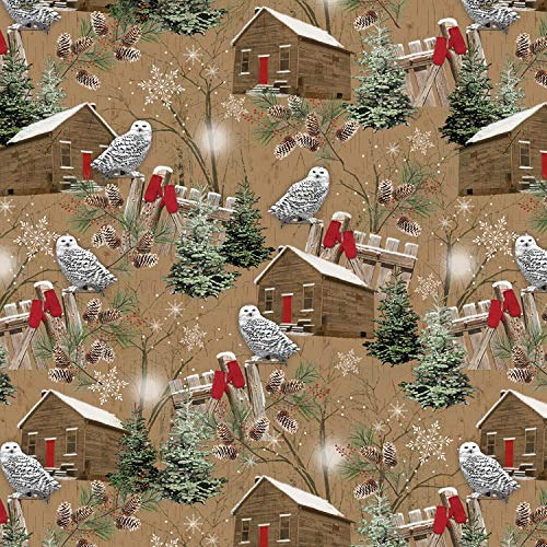 1 Yard Rustic Charm Flannel Christmas Fabric by Jan Shade Beach from Henry Glass 100% Cotton Flannel Quilt Fabric F1341-33 owl Cabin