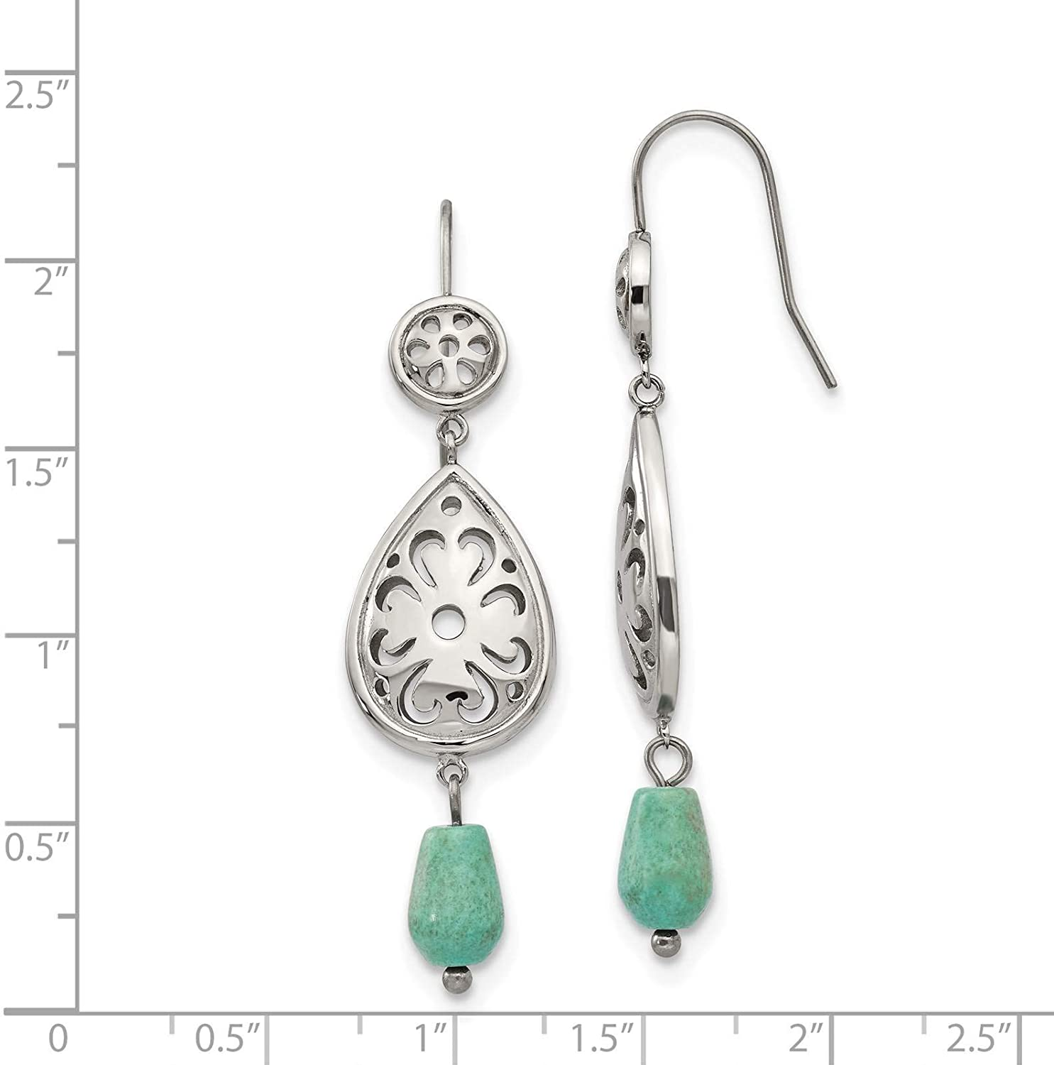 Stainless Steel Polished Teardrop Simulated Turquoise Dangle Earrings