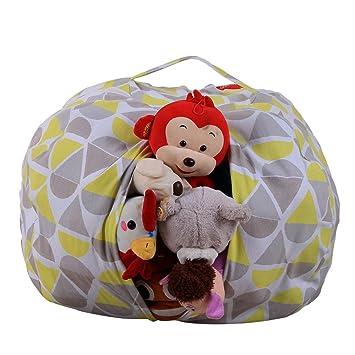 Grau Stofftier Kuscheltiere Aufbewahrung Aufbewahrungstasche Sitzsack Kinder Pl/üschtiere Aufr/äumsack Spieldecke Spielzeug Speicher Tasche Aufbewahrung Beutel