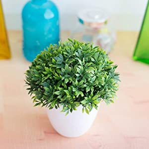 SDFG 1pc Artificial Plants Bonsai Fake Green Plant Pot Plants Fake Flowers Potted Ornaments Mini Potted Plastic for Home Decoration Hotel Garden Decor Bonsai