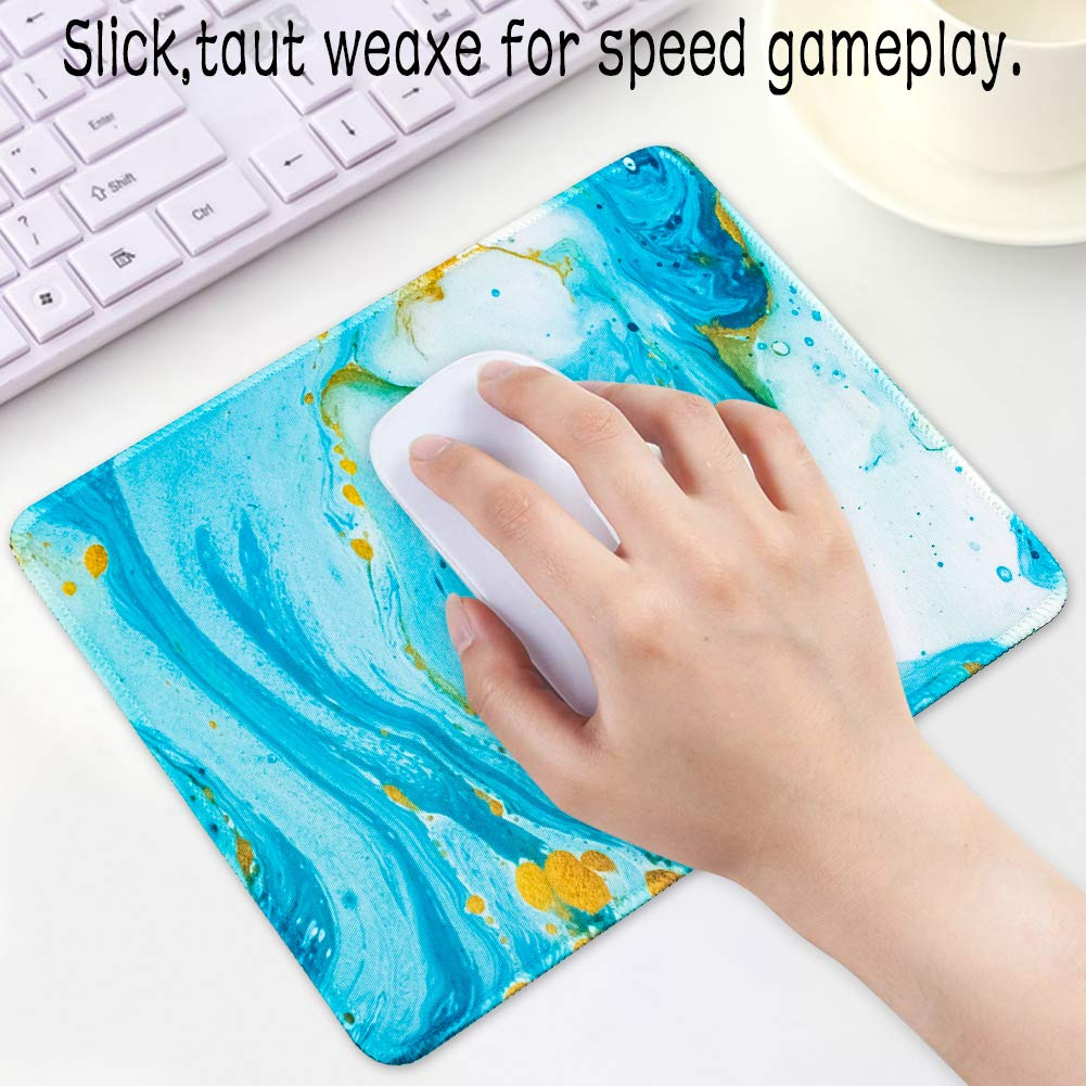 Gaming Mouse Pad Gold Pink Marble Stitched Edges Mousepad Non Slip Rubber Mouse Mat Rectangle Mouse Pads for Computers Laptop