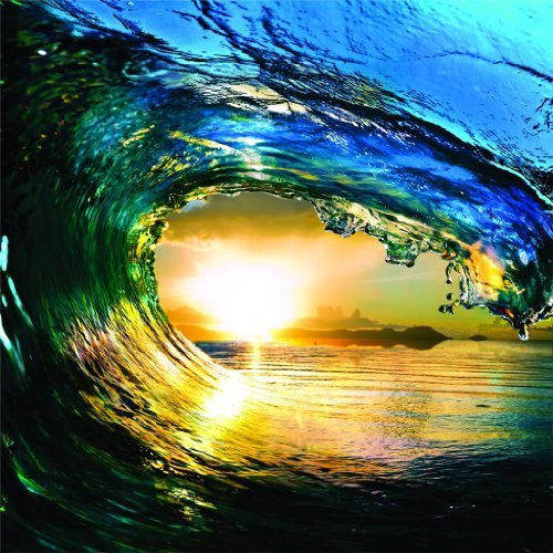 HUGE Water Wave Outdoor Scene Ocean Sun Sky Picture Art M...