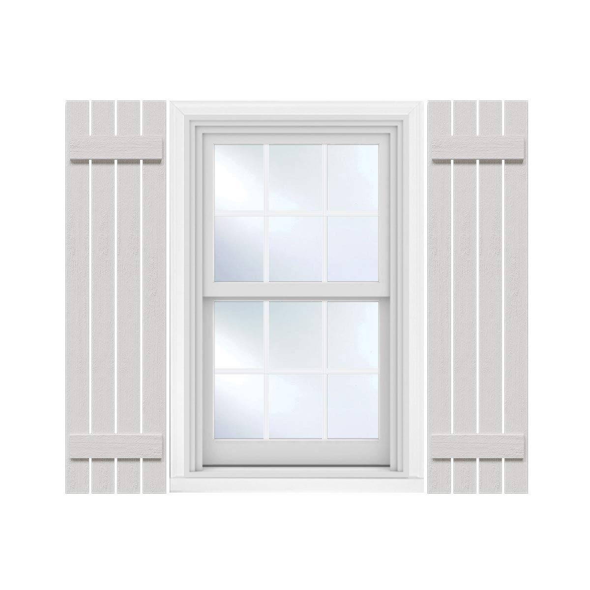 Ekena Millwork FBS06S24X072RUF Rustic Four Spaced Board-n-Batten Faux Wood Shutters, 24''W x 72''H, Primed by Ekena Millwork