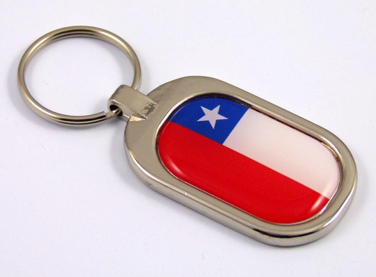 Chile Flag Key Chain Metal Chrome Plated Keychain Key fob keyfob Chilian
