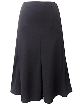 Ladies Ex M&S Black A-Line Crepe Elasticated Waist Skirt: Amazon ...