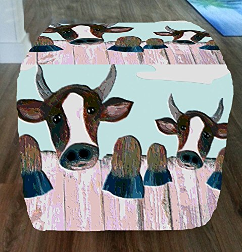 Fence Cows Ottoman From My Art by xmarc