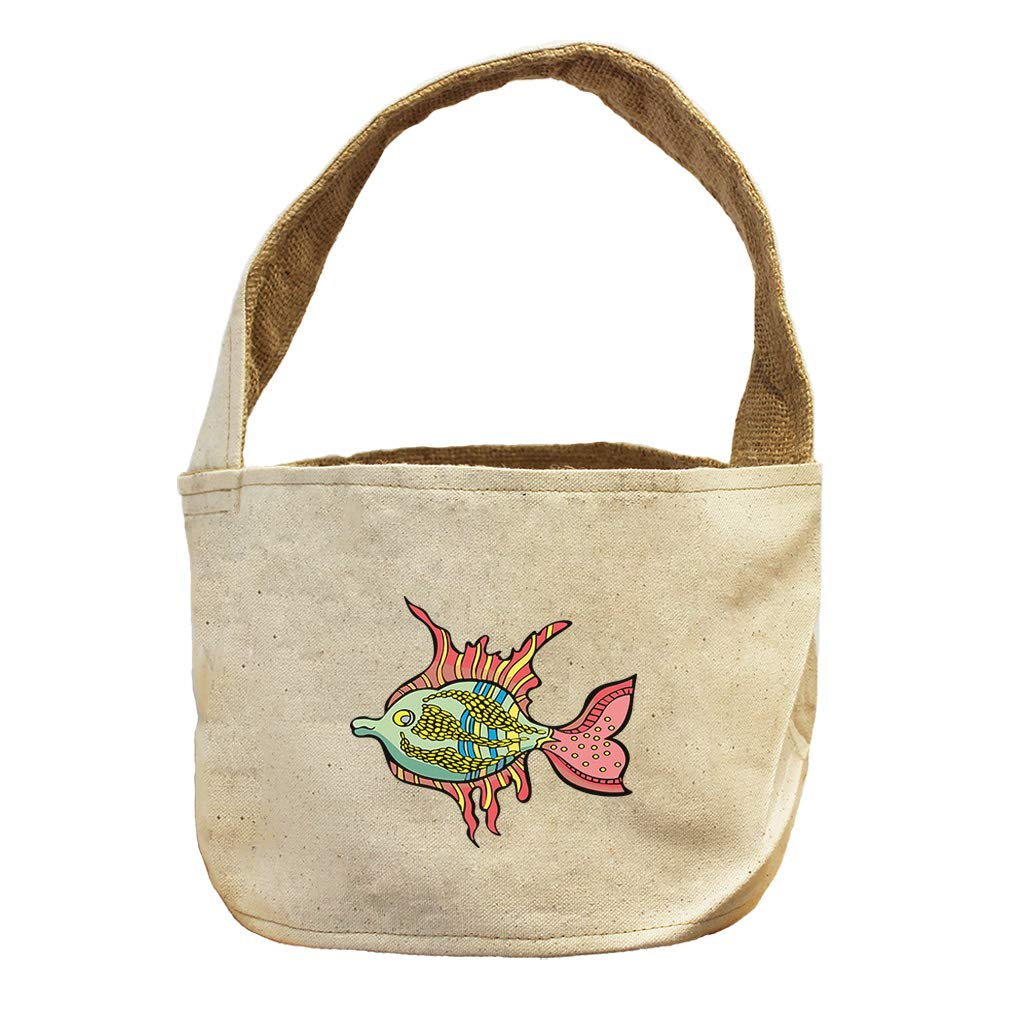 Style in Print Tropical Fish with Red Fins Animals Canvas and Burlap Storage Basket
