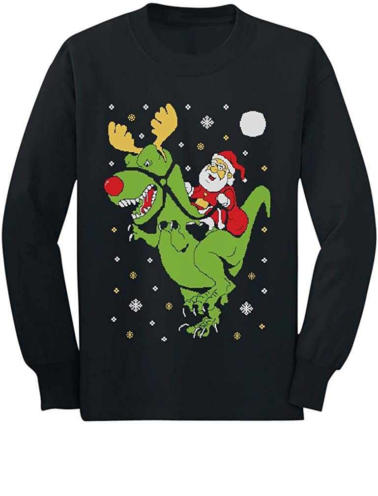 T-Rex Santa Ride Funny Ugly Christmas Sweater Toddler/Kids Long sleeve T-Shirt GhPhrh0gC5