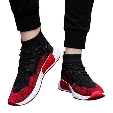0c1eb539a60c4 Amazon.com: Men's High Top Breathable Walking Shoes, Comfortable ...