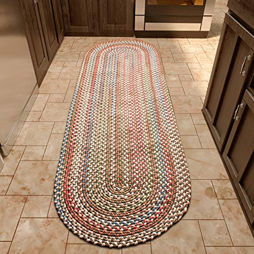 Super Area Rugs Roxbury Indoor Outdoor Braided Rug Dk. Taupe/Natural Multi Colored RB39, 2' X 6' Oval Runner 6' Oval Outdoor Braided Runner