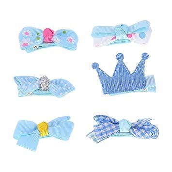 ebbee109ffd3 6pcs Mixed Ribbon Bow Hairpin Hair Clips for Girls Kids Hair Accessories -  Blue