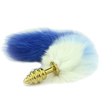 23907c277cd PINGMINDIAN Salable Blue Screw Thread Stainless Steel Faux Fox Tail Butt  Plug Cat Tail Anal Plug