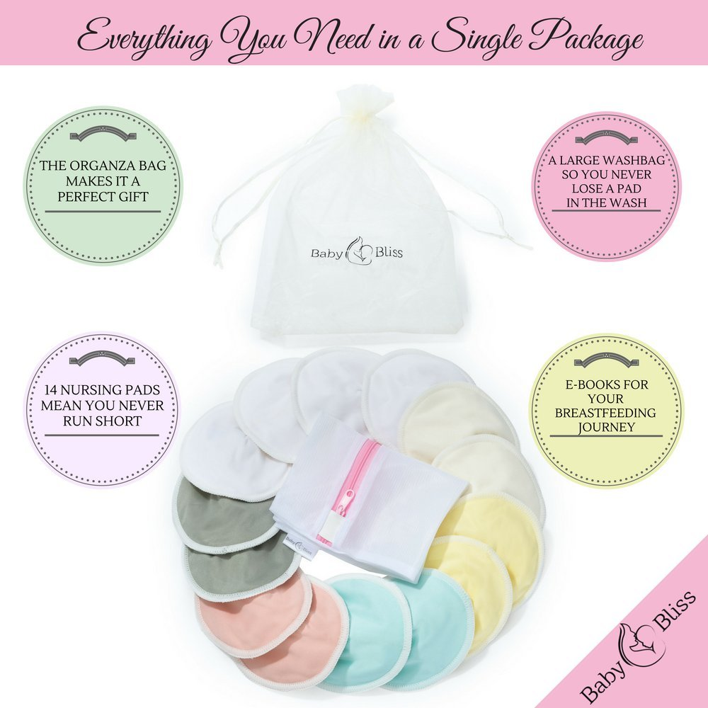 BabyBliss Washable Nursing Pads  Pack Of 14+3 Bonus Items  With 3 Size Variants l Reusable  Soft & Super absorbent   Leak-proof   With Laundry & Organza Bags   Perfect Baby Shower Gift by BabyBliss (Image #1)
