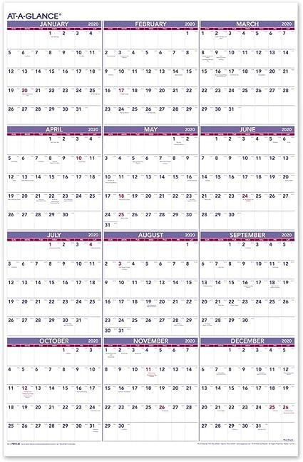 AT-A-GLANCE 2020 calendario de pared anual, 24 pulgadas x 36 pulgadas, XL, vertical (PM1228): Amazon.es: Oficina y papelería