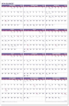 Amazon Com At A Glance 2020 Yearly Wall Calendar 24 X 36 Xlarge Vertical Pm1228 Office Products