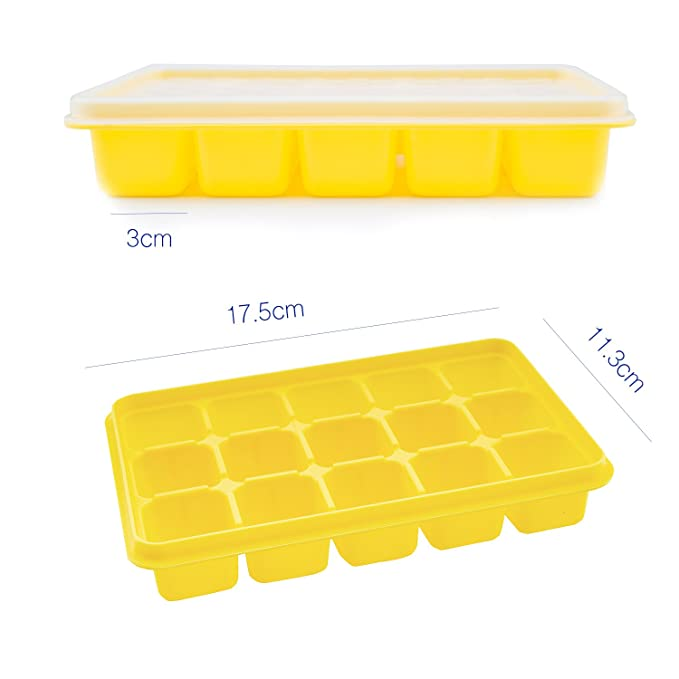 Beicemania Silicone Ice Cube Tray With Lid Maker Blue 15er 3x3cm
