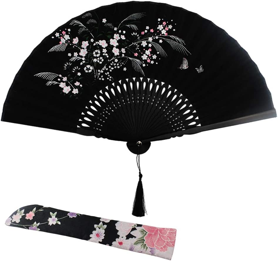 Wobe Grassflowers Folding Hand Held Fans - with a Fabric Sleeve for Protection for Birthday Gifts - Womens Folding Hand Fan Chinese/Japanese Vintage Style Handheld Folding Fan Home Decorations Baby Sh
