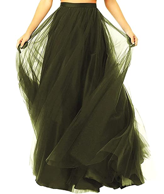 1865c44c5d Diydress Women's Long Tutu Tulle Prom Party Skirt A Line Floor Length  Formal Skirts Army Green