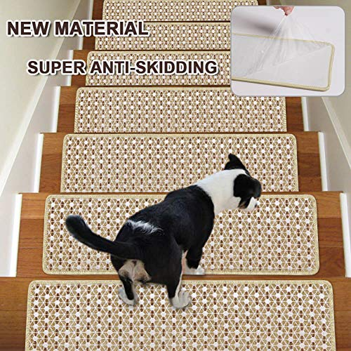 - Stair Treads Non-Slip Carpet Indoor Set of 13 Beige Carpet Stair Tread Treads Stair Rugs Mats with Self Adhesive Skid Resistant Rubber Backing (30 x 8 inch),(Beige, Set of 13)