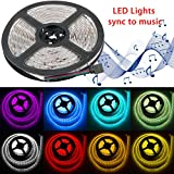 Led Light Strip Music, LinkStyle Flexible LED Strip Light Kit Sync to Music 16.4Ft/5M RGB 300 LED Lights SMD 5050 Waterproof with IR Remote Control Power Supply for Home Wall Party Bar Wedding Decor