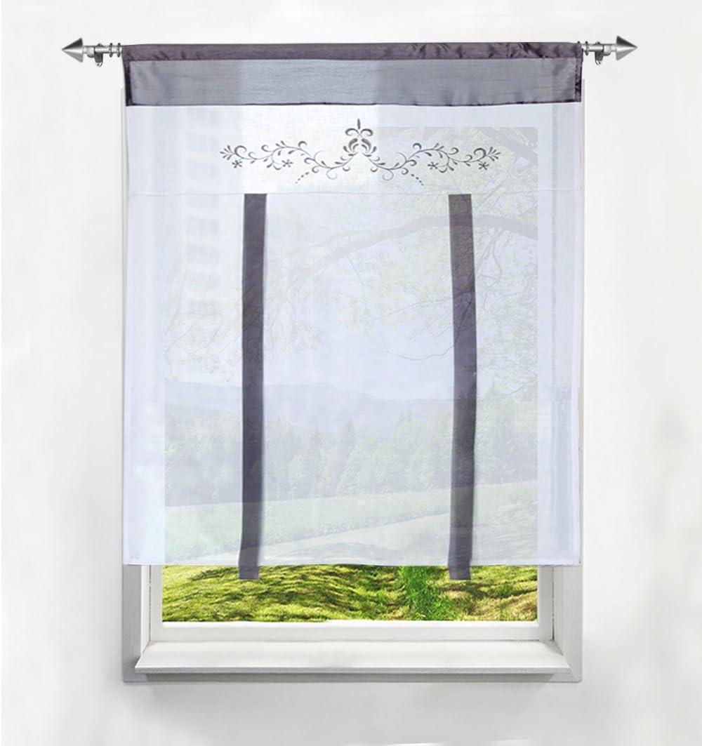 Sable, LxH//60 x120cm BAILEY JO 1Pc Store Romain Photique Passe Tringle avec Fleurs Impression D/écoration de Fen/être Chambre//Salle de Bain//Balcon Cuisine