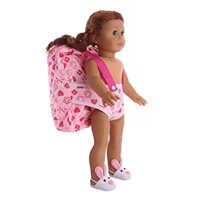 689c3262d8c6 Fiaya 18 inch Our Generation American Girl Doll Lovely Backpack   Doll  Carrier Sleeping Bag Adorable