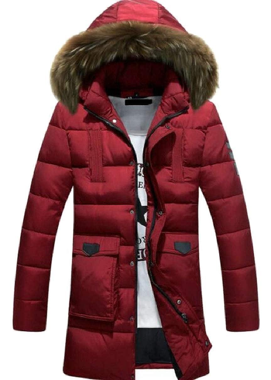 CBTLVSN Mens Winter Warm Down Coat Thicken Faux Fur Hooded Puffer Jacket