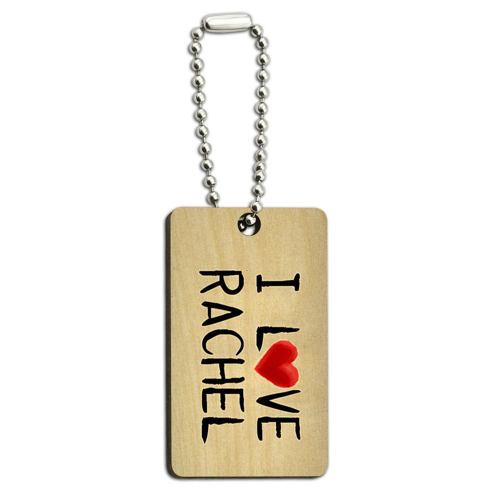 I Love Rachel Written on Paper Wood Wooden Rectangle Key Chain