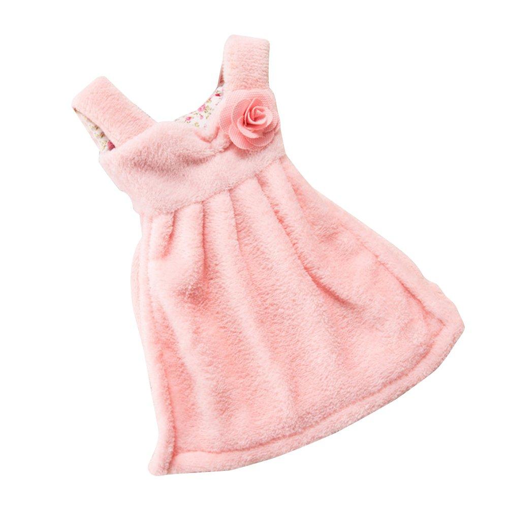 BESTONZON asciugamani Sospensione asciugamani di abito forma Absorbent d acqua corallo velluto asciugamano per Cucina Bagno Bambini Rosa