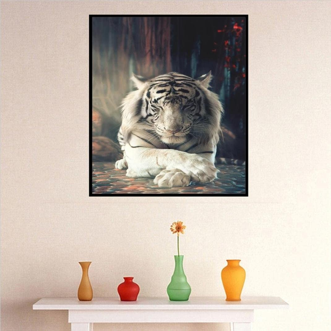 Yeefant White Tiger Embroidery Paintings No Fading 5D Canvas Rhinestone Pasted Pasted DIY Diamond Cross Stitch Home Wall Decor for Bedroom Living Room,12x16 Inch