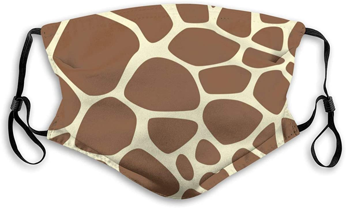 SaiXuan Face Scarf Co/_V-Er Mouth Co/_V-Er Dust Washable Reusable Giraffe Print Pattern With 2 Filters Outdoor M/_A/_sk