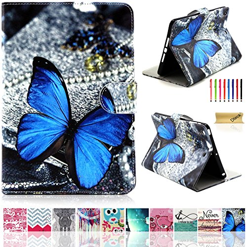 iPad Air Case, iPad 5 Case, Dteck(TM) Slim Fit Cute Cartoon Flip Stand Case with [Card Slots] [Magnetic Clousure] PU Leather Protective Case Cover for iPad 5th Gen/iPad Air, Blue Butterfly