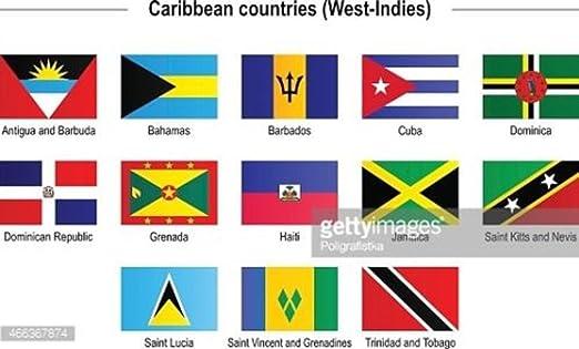 AES Las Islas del Caribe West Indies 2 x 3 de Bandera Set de 13 País poliéster Banderas Doble Costura Resistente a la decoloración Premium Calidad: Amazon.es: Jardín