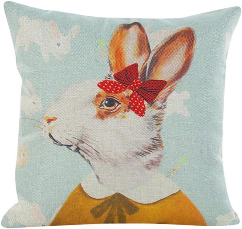Kissenbezug 43 x 43 cm Tier Kaninchen Sofa Taille Wurf kopfkissenbez/üge Home Decor Festival Kissenh/ülle LuckyGirls B