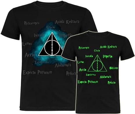 Camiseta Brilla en la Oscuridad Inspirada en Harry Potter Reliquias de la Muerte: Amazon.es: Ropa y accesorios