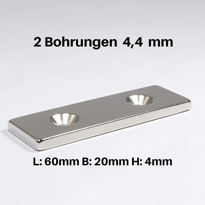 Neodym Magnet mit Bohrung und Senkung 20x10x3mm 3 KG Quader Senkbohrung Senkkopf 10 St/ück Senkkopfschraube M3 Senkloch zum anschrauben