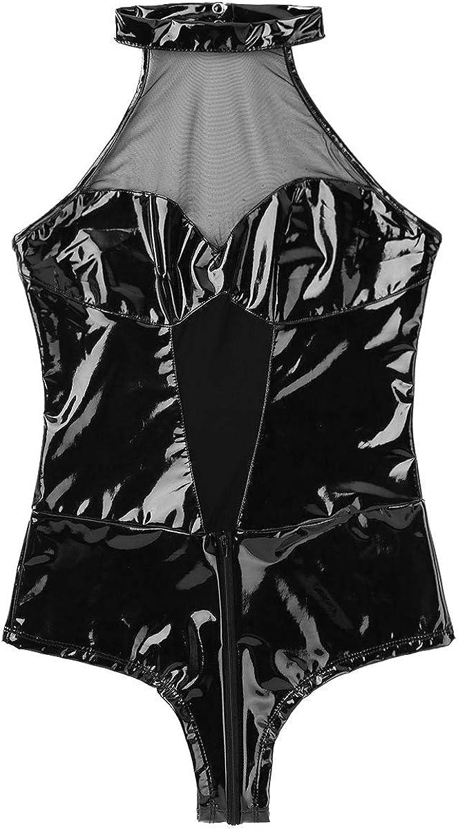Yeahdor Womens Wetlook PVC Open Chest Fishnet Halter Backless Zipper Crotch Leotard Bodysuit Clubwear