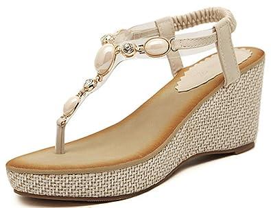 668bb7a228f9 IDIFU Women s Sweet Boho Rhinestone Platform High Heel Wedge Thong Sandals  Elastic Beach Shoes Beige 4