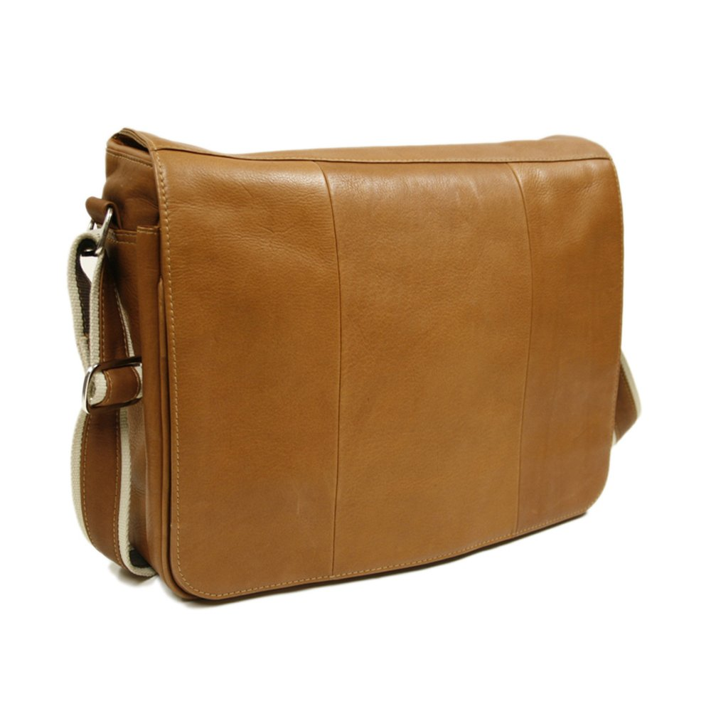 Piel Leather Expandable Messenger Bag, Saddle, One Size by Piel Leather