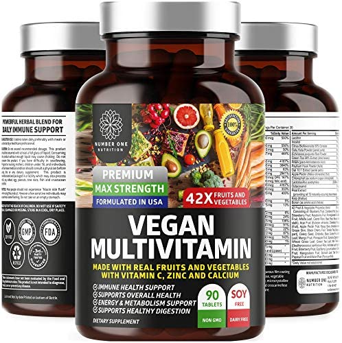N1N Premium Vegan Multivitamin [86 Powerful Ingredients] Daily Multivitamin for Men and Women with Raw Veggies and Fruits, D3, Zinc, Calcium and Enzymes, 90 Tablets