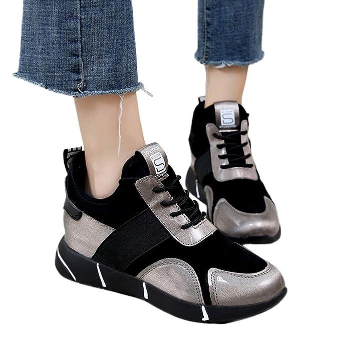 ❤ Zapatos empalmar Deportivos Mujeres, Zapatillas Informal Zapatillas Planas Transpirables Zapatillas Deporte Plataforma Otoño Invierno Absolute: ...